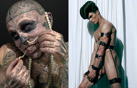 ARENA HOMME MAGAZINE Seth Kuhlmann, Brian Shimansky & Rick Genest in Anatomy of a Murder by Steven Klein. www.imageamplified.com, Image Amplified (2)