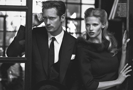 VOGUE MAGAZINE Lara Stone, Frida Gustavsson & Alexander Skarsgård in Spell Bound by Peter Lindbergh. Grace Coddington, July 2011, www.imageamplified.com, Image Amplified (9)