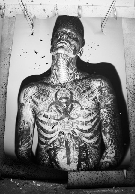 ARENA HOMME MAGAZINE Seth Kuhlmann, Brian Shimansky & Rick Genest in Anatomy of a Murder by Steven Klein. www.imageamplified.com, Image Amplified (14)