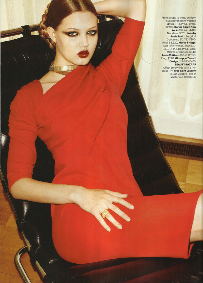HARPER'S BAZAAR MAGAZINE Lindsey Wixon in Red Hot Fashion by Terry Richardson. Brana Wolf, October 2011, www.imageamplified.com, Image Amplified (8)