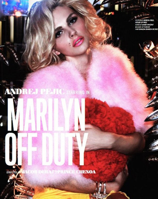 LOVECAT MAGAZINE- Andrej Pejic in &%Marilyn Off-Duty' by Jacob Dekat & Prince Chenoa. Patricia Field, www.imageamplified.com, Image Amplified1