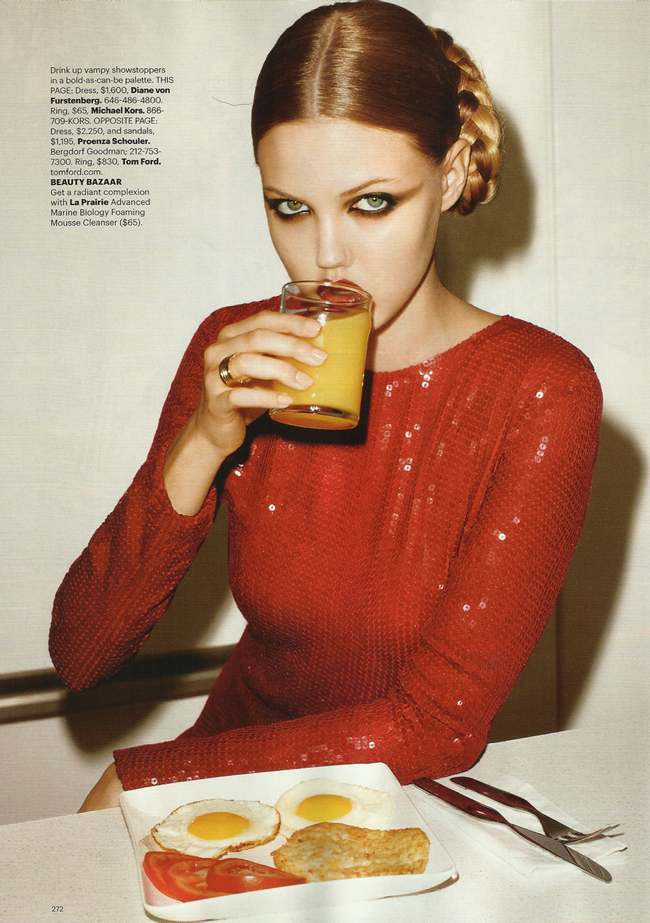 HARPER'S BAZAAR MAGAZINE Lindsey Wixon in Red Hot Fashion by Terry Richardson. Brana Wolf, October 2011, www.imageamplified.com, Image Amplified (4)