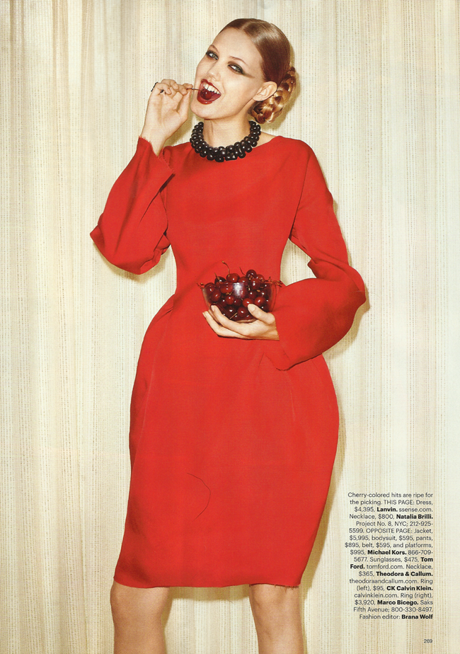 HARPER'S BAZAAR MAGAZINE Lindsey Wixon in Red Hot Fashion by Terry Richardson. Brana Wolf, October 2011, www.imageamplified.com, Image Amplified (6)