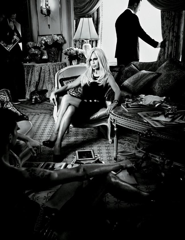 INTERVIEW MAGAZINE- Karmen Pedaru & Donatella Versace in Versace Spring 2012 by Patrick Demarchelier. Karl Templer, December 2011, www.imageamplified.com, Image Amplified2