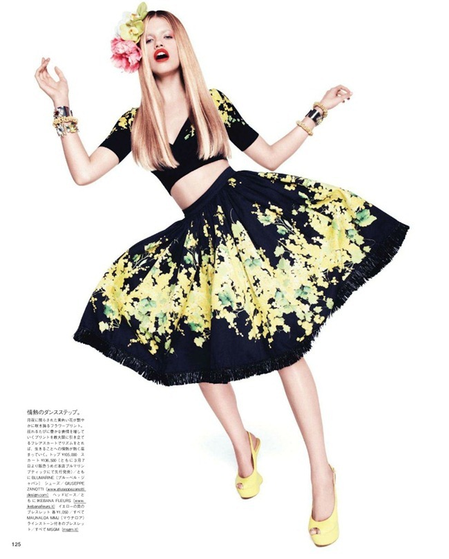 VOGUE JAPAN- Hailey Clauson in Tropical Flowers by Paola Kudacki. Aurora Sansone, April 2012, www.imageamplified.com, Image Amplified4