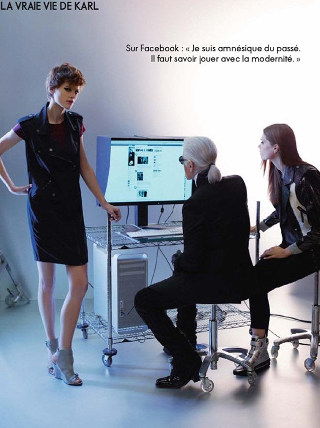 ELLE FRANCE karl Lagerfeld, Saskia de Brauw & Caroline Brasch Nielsen in The Real Life of Karl Lagerfeld by Karl Lagerfeld. March 2012, www.imageamplified.com, Image Amplified (3)