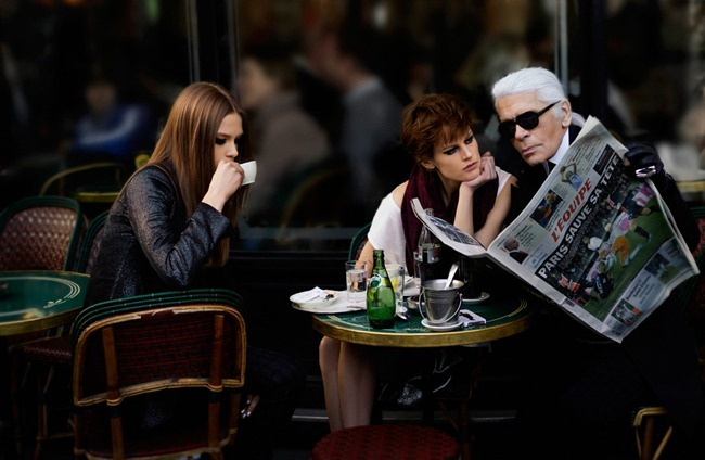 ELLE FRANCE karl Lagerfeld, Saskia de Brauw & Caroline Brasch Nielsen in The Real Life of Karl Lagerfeld by Karl Lagerfeld. March 2012, www.imageamplified.com, Image Amplified (4)