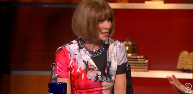 "TELEVISION WONDERLAND: Anna Wintour on ""The Colbert Report"". Image Amplified www.imageamplified.com"