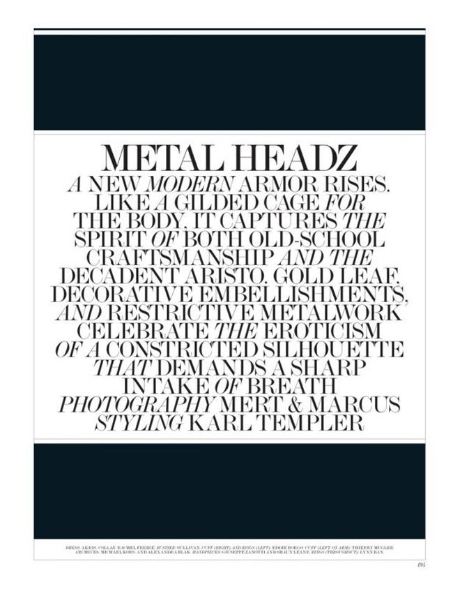 INTERVIEW MAGAZINE- Elise Crombez & Saskia de Brauw in Metal Headz by Mert & Marcus. Karl Templer, March 2012, www.imageamplified.com, Image Amplified1