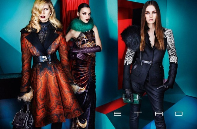 CAMPAIGN iselin Steiro, Magda Lagunge, Miles McMillan, Ton Heukels & Laura Love for Etro Fall 2012 by Mario Testino. www.imageamplified.com, Image Amplified (2)