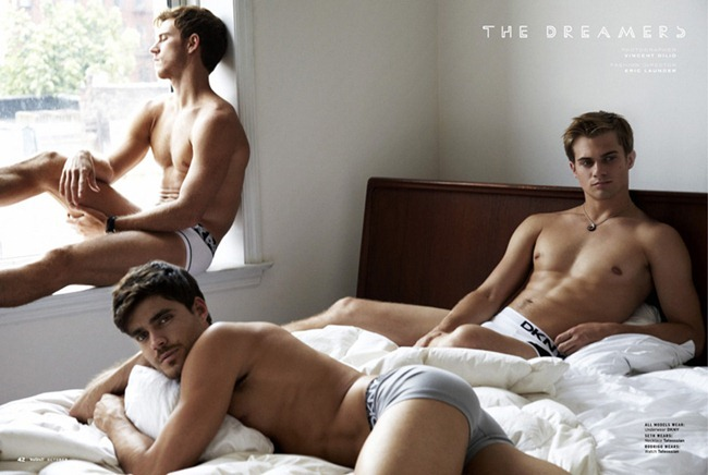 INSTINCT MAGAZINE Rodrigo Calazans, Caio Cesar & Seth Khulmann in The Dreamers by Vincent Dilio. Eric Launder, October 2012, www.imageamplified.com, Image Amplified (1)