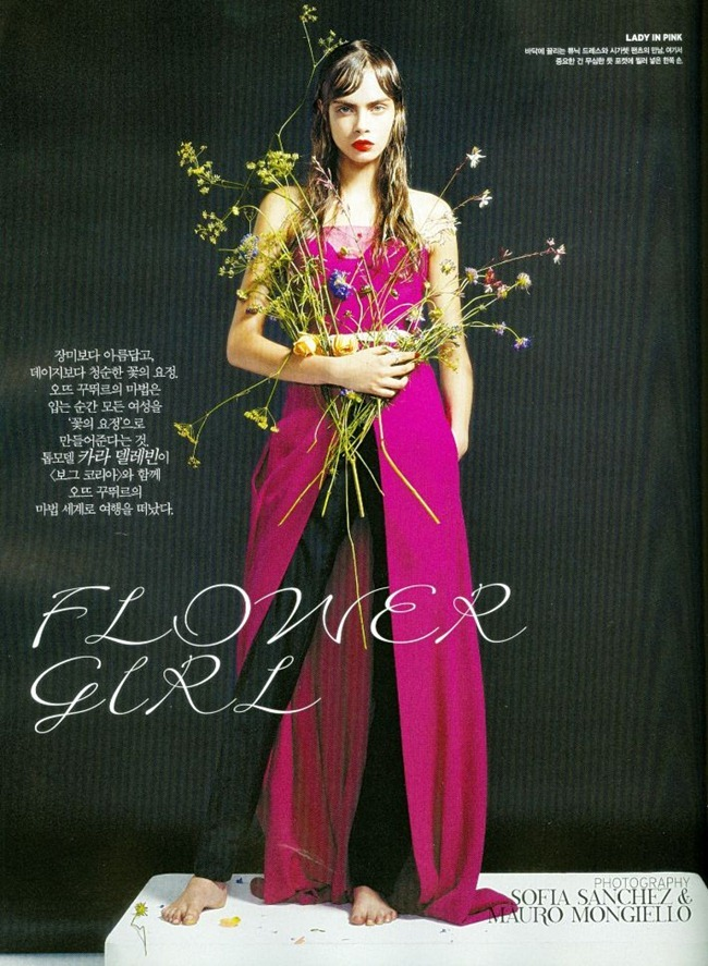 VOGUE KOREA- Cara Delevigne in Flower Girl by Sanchez & Mongiello. Ye Young Kim, December 2012, www.imageamplified.com, Image Amplified