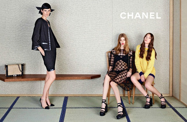 CAMPAIGN- Stella Tennant, Ondria Hardin & Yumi Lambert for Chanel Spring 2013 by Karl Lagerfeld. www.imageamplified.com, Image Amplified