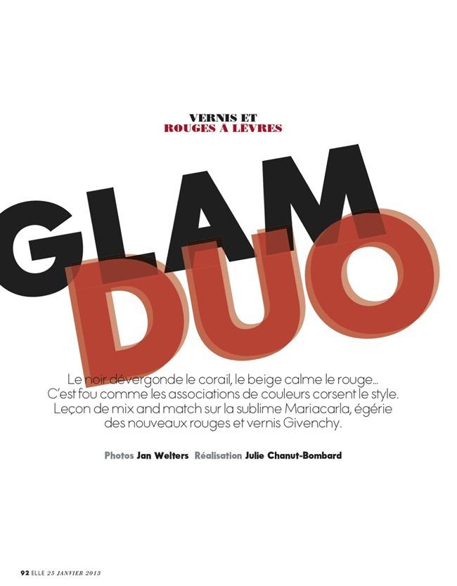 ELLE FRANCE- Mariacarla Boscono in Glam Duo by Jan Welters. Julie Chanut-Bombard, January 2013, www.imageamplified.com, Image Amplified