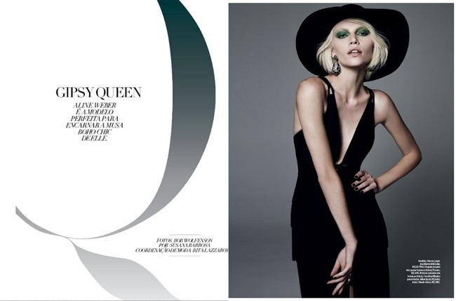 ELLE BRAZIL- Aline Weber in Gipsy Queen by Bob Wolfenson. Suana Barbosa, February 2013, www.imageamplified.com, IMage Amplified