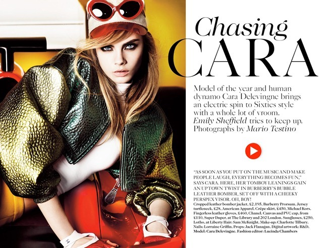 VOGUE UK- Cara Delevigne in Chasing Cara by Mario Testino. Lucinda Chambers, March 2013, www.imageamplified.com, Image Amplified