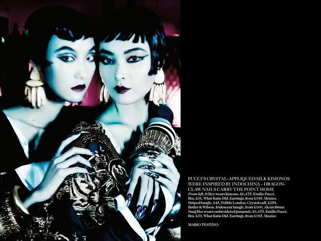 VOGUE UK- Sui He, Sung Hee Kim, Ji Hye Park & Fei Fei Sun in Orient Express by Mario Testino. Lucinda Chambers, March 2013, www.imageamplified.com, Image Amplified (1)