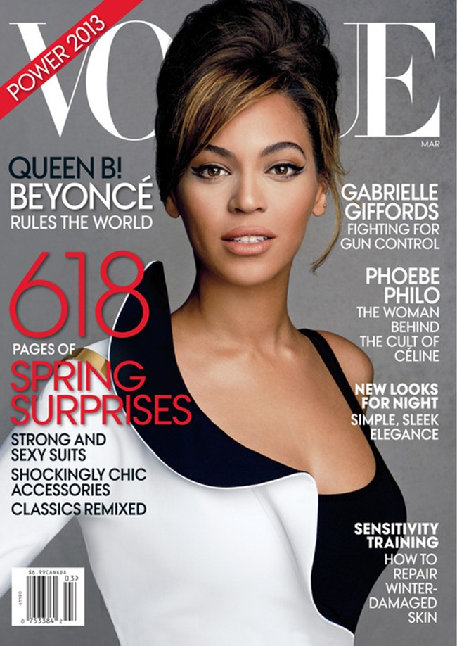 VOGUE MAGAZINE- Beyonce in Queen B by Patrick Demarchelier. Camilla Nickerson, March 2013, www.imageamplified.com, image Amplified