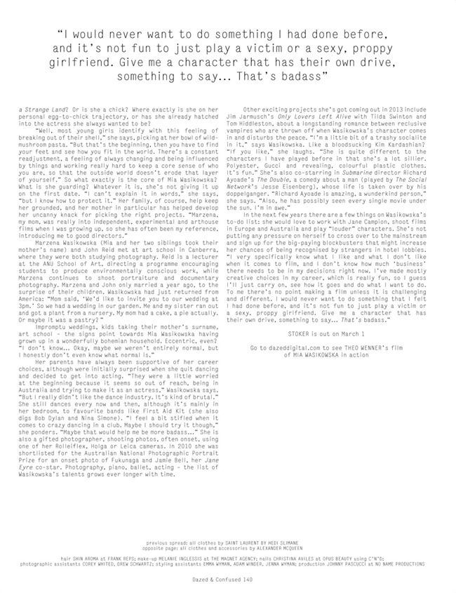 DAZED & CONFUSED MAGAZINE- Mia Wasikowska in Mia Dearest by Theo Wenner. Karen Langley, March 2013, www.imageamplified.com, Image Amplified (6)
