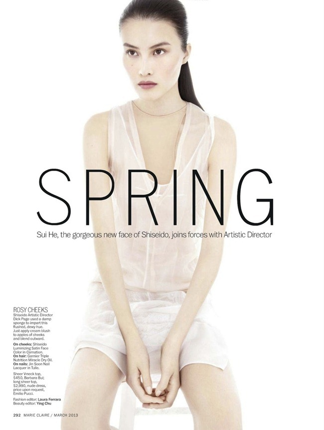 MARIE CLAIRE MAGAZINE- Sui He in Spring Forward by Alex Cayley. Laura Ferrara, March 2013, www.imageamplified.com, Image Amplified