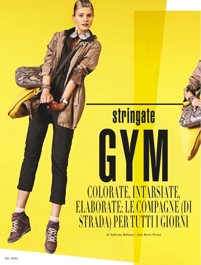 GRAZIA ITALIA- Christina Gottschalk in Stringate Gym by Boris Ovini. Sabrina Bolzoni, March 2013, www.imageamplified.com, Image Amplified