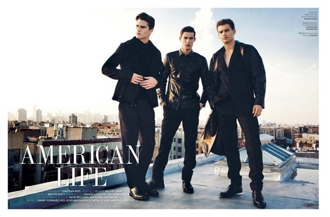 AUGUST MAN MAGAZINE- Vladimir Ivanov, Danny Schwarz & Luke Armitage in American Life by Christian Rios. Melvin Chan, www.imageamplified.com, Image Amplified