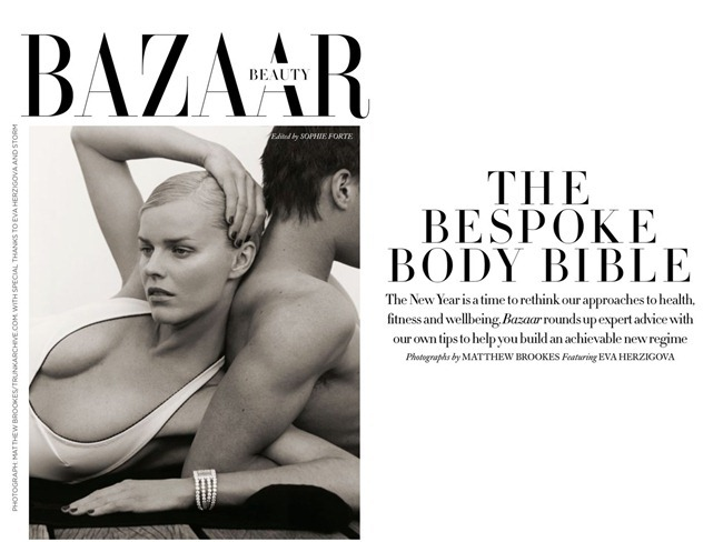 HARPER'S BAZAAR UK- Eva Herzigova in The Bespoke Body Bible by Matthew Brookes. January 2013, www.imageamplified.com, Image Amplified