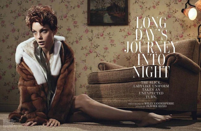 W MAGAZINE- Jessica Stam in Long Day's Journey Into Night by Willy Vanderperre. Olivier Rizzo, January 2012, www.imageamplified.com, Image Amplified