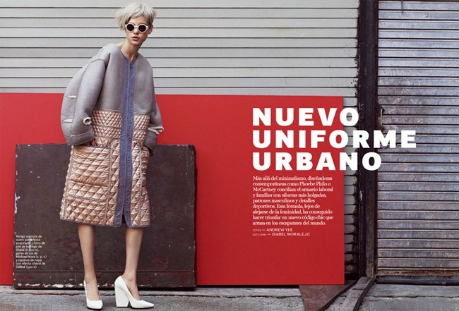S MODA MAGAZINE- Tatiana Cotliar in Nuevo Uniforme Urbano by Andrew Yee. Isabel Moralejo, January 2013, www.imageamplified.com, Image Amplified
