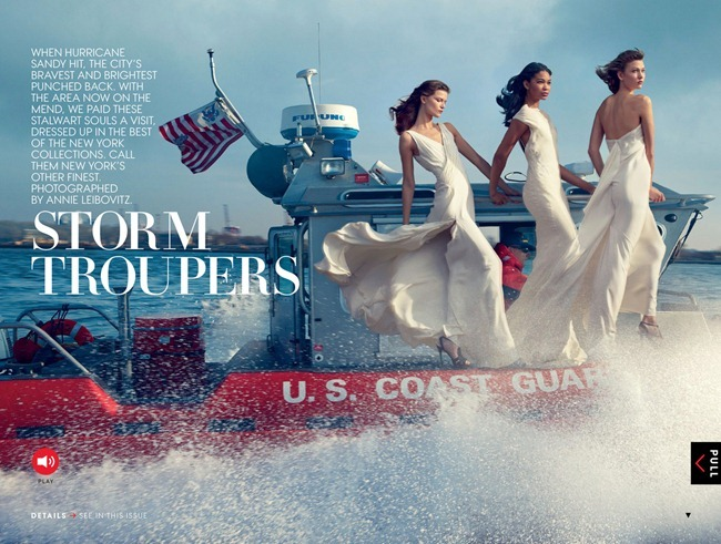 VOGUE MAGAZINE- Karlie Kloss, Kasia Struss, Arizona Muse, Liu Wen, Joan Smalls & Chanel Iman in Storm Troupers by Annie Leibovitz. Tonne Goodman, February 2013, www.imageamplified.com, Image Amplified