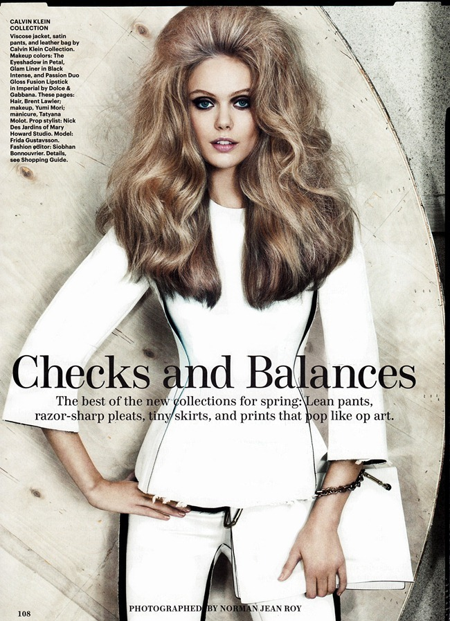 ALLURE MAGAZINE- Frida Gustavsson in Checks & Balances by Norman Jean Roy. Siobhan Bonnouvrier, January 2013, www.imageamplified.com, Image Amplified