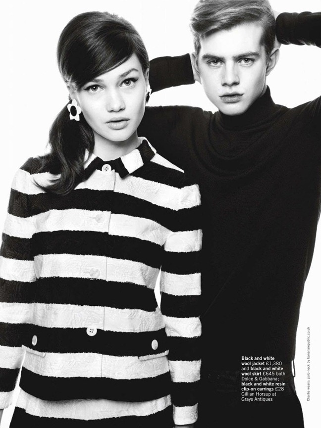 GLAMOUR UK- Lena Lomkova & Charlie Mills in Mod Rules by Walter Chin. Charlotte-Anne Fidler, March 2013, www.imageamplified.com, Image Amplified