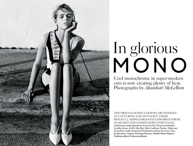 VOGUE UK- Rosie Tapner in In Glorious Mono by Alasdair Mclellan. Francesca Burns, March 2013, www.imageamplified.com, Image Amplified