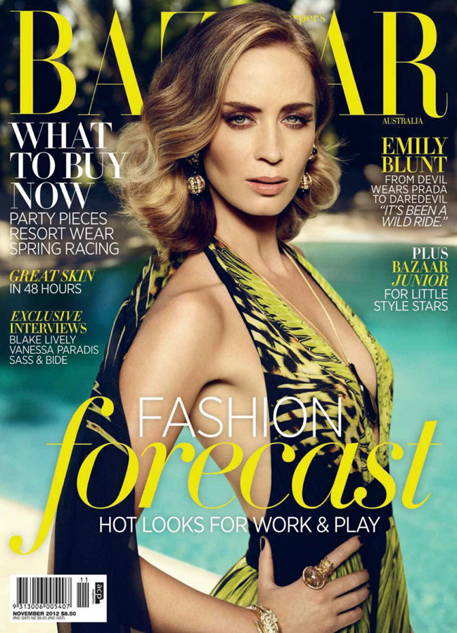 HARPER'S BAZAAR AUSTRALIA- Emily Blunt in Blunt Force by Jason Bell. Thelma McQuillan, November 2012, www.imageamplified.com, Image Amplified