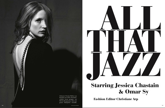 VOGUE GERMANY- Jessica Chastain & Omar in All That Jazz by Bruce Weber. Christiane Arp, January 2013, www.imageamplified.com, Image Amplified