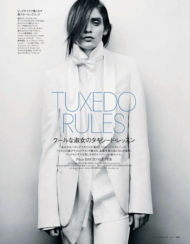ELLE JAPAN- Heidi Mount in Tuxedo Rules by David Slijper. Joanne Blades, February 2013, www.imageamplified.com, Image Amplified