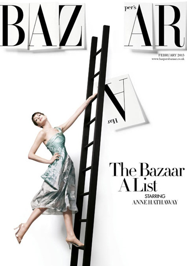 PREVIEW- Anne Hathaway in A is For Anne for Harper's Bazaar UK, February 2013 by David Slijper. Leith Clark, www.imageamplified.com, Image Amplified