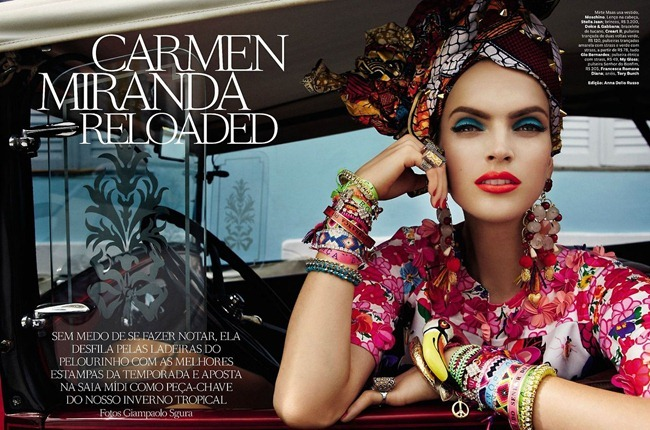 VOGUE BRAZIL- Mirte Maas, Suzane & Suzana in Carmen Miranda Reloaded by Giampaolo Sgura. Anna Dello Russo, February 2013, www.imageamplified.com, Image Amplified
