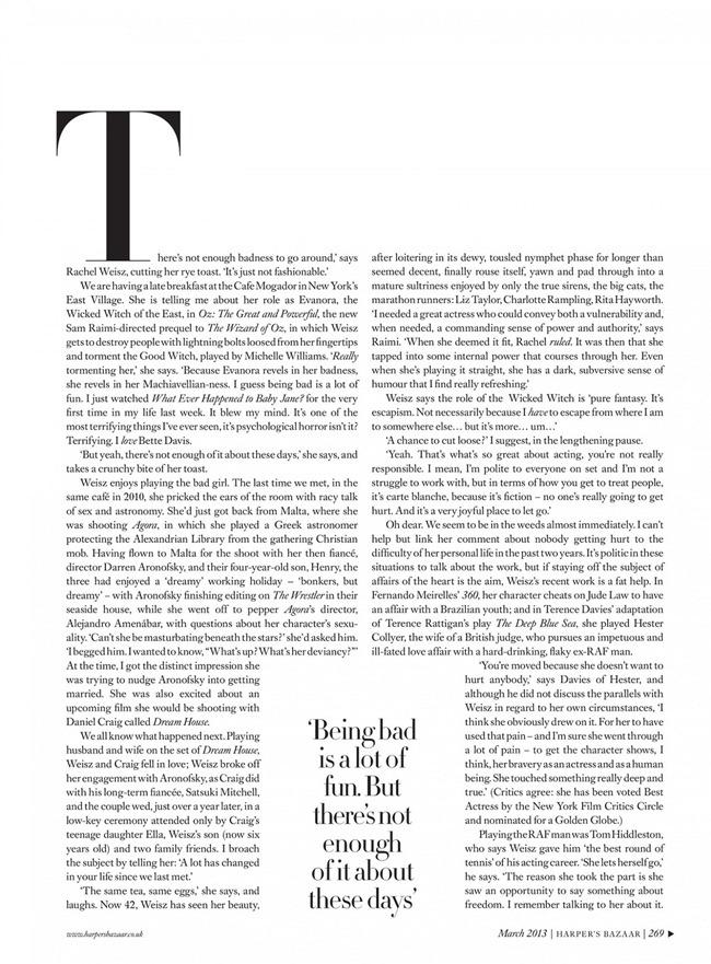 HARPER'S BAZAAR UK- Rachel Weisz in Good At Being Bad by David Slijper. Leith Clark, March 2013, www.imageamplified.com, Image Amplified (4)