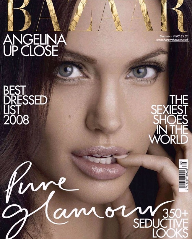 CELEBRITY STYLE REWIND- Angelina Jolie in Super Girl for Harper's Bazaar UK, December 2008. www.imageamplified.com, Image Amplified