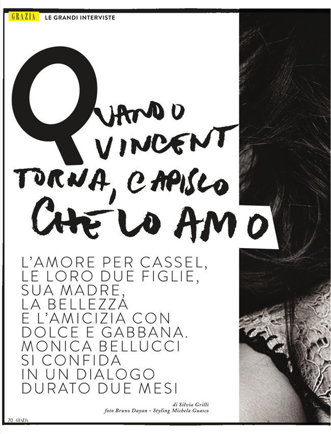 GRAZIA ITALIA- Monica Bellucci by Bruno Dayan. Michaela Guasco, March 2013, www.imageamplified.com, Image Amplified
