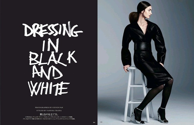VOGUE JAPAN- Marine Deleeuw in Dressing In Black And White by Steven Pan. Vanessa Traina, August 2013, www.imageamplified.com, Image Amplified