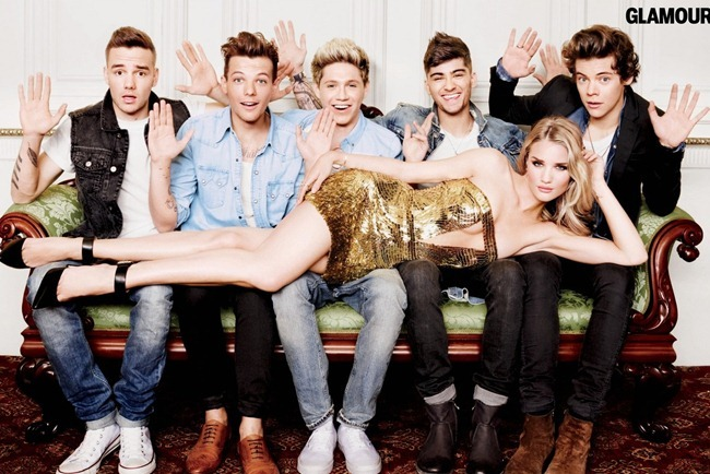 GLAMOUR MAGAZINE Rosie Huntington-Whiteley & One Direction by Matt Irwin. August 2013, www.imageamplified.com, Image Amplified (3)