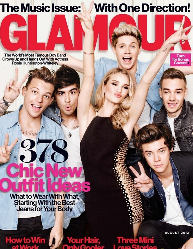 GLAMOUR MAGAZINE Rosie Huntington-Whiteley & One Direction by Matt Irwin. August 2013, www.imageamplified.com, Image Amplified (1)