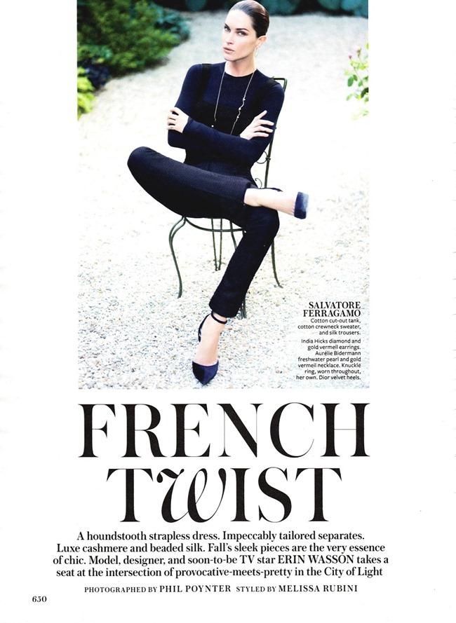 INSTYLE MAGAZINE- Erin Wasson in French Twist by Phil Poynter. Melissa Rubini, September 2013, www.imageamplified.com, Image Amplified