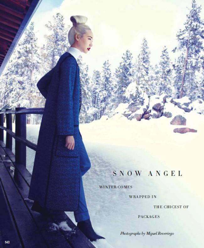 HARPER'S BAZAAR MAGAZINE- Soo Joo in Snow Angel by Miguel Reveriego. Joanna Hillman, September 2013, www.imageamplified.com, Image Amplified