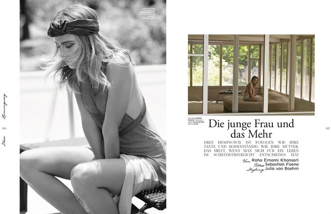 INTERVIEW GERMANY- Dree Hemingway in Die Junge Frau und das Mehr by Sebastian Faena. Joulia Von Boeh, September 2013, www.imageamplified.com, Image Amplified