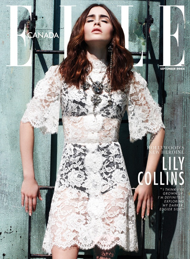 ELLE CANADA- Lily Collins by Max ABadian. Isabel Dupre, September 2013, www.imageamplified.com, Image Amplified