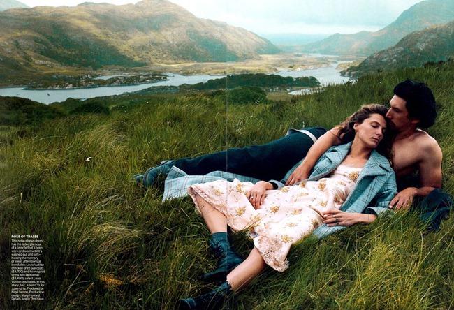 VOGUE MAGAZINE- Daria Werbowy & Adam Driver in Wild Irish Rose by Annie Leibovitz. Grace Coddington, September 2013, www.imageamplified.com, Image Amplified