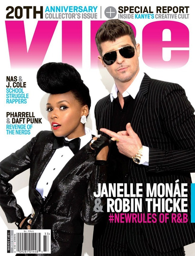 VIBE MAGAZINE- Janelle Monae & Robin Thicke by Kareem Black. www.imageamplified.com, Image Amplified